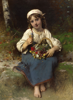 Young Girl with a Basket of Flowers, 1880 by Léon Jean Basile Perrault (French, 1832 - 1908)