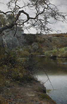 Boating Along a Quiet River, Alcala, 1886 by Emilio Sanchez-Perrier (Spanish, 1855 - 1907)