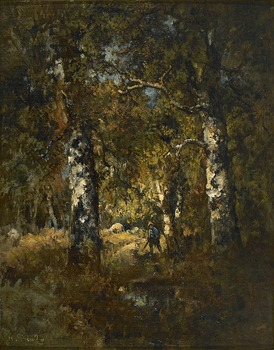 Hunter in the Woods by Narcisse Virgile Diaz de la Pena (French, 1807 - 1876)