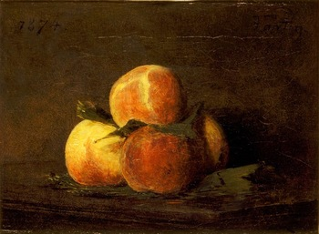 Quatre Pêches sur une Table (Four Peaches on a Table), 1874 by Henri Fantin-Latour (French, 1836 - 1904)