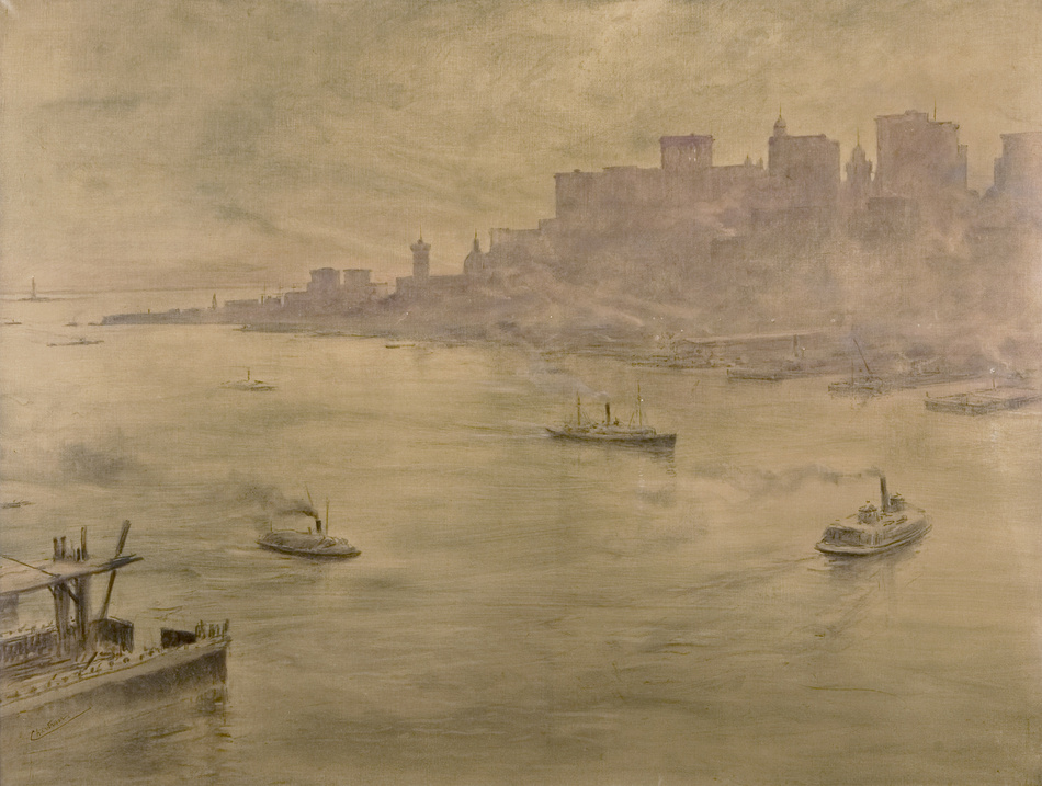 View of South Street Seaport from the Brooklyn Bridge, Circa 1895 - 1904 by Théobald Chartran (French, 1849 - 1907)