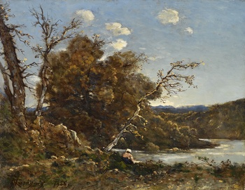Autumn Landscape with Washerwoman at the River, 1906 by Henri-Joseph Harpignies (French, 1819 - 1916)