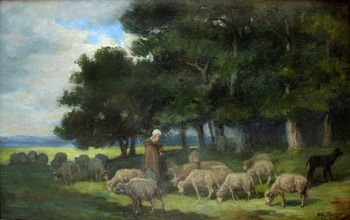 Shepherdess and Sheep at the Edge of the Forest by Charles Jacque (French, 1813 - 1894)