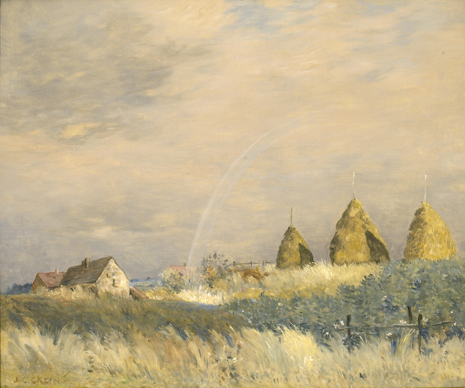 Landscape with a Rainbow and Haystacks by Jean-Charles Cazin (French, 1841 - 1901)