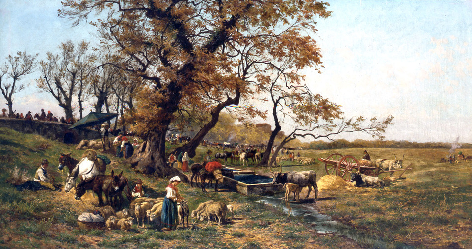 Peasant Gathering in the Roman Campagna by Pietro Barucci (Italian, 1845 - 1917)
