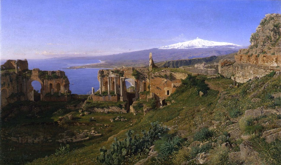 The Amphitheater at Taormina, Sicily, 1872 by Otto Geleng (German, 1843 - 1939)