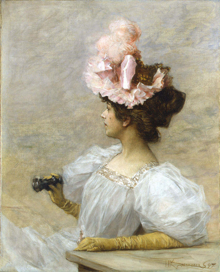Woman with Opera Glasses, 1897 by Frederick Hendrik Kaemmerer (Dutch, 1839 - 1902)
